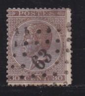 BELGIUM, 1865, Used Stamp(s), Leopold !, Brown 30 Cent, MI 16, #10261, - 1865-1866 Profile Left