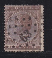 BELGIUM, 1865, Used Stamp(s), Leopold !, Brown 30 Cent, MI 16, #10261,