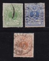 BELGIUM, 1869, Used Stamp(s), Definitives,  MI 23=26, #10262, 3 Valuesonly - 1869-1888 Lying Lion