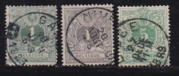 BELGIUM, 1884 Used Stamp(s), Definitives  MI 39-41, #10265, Complete - 1869-1888 Lion Couché