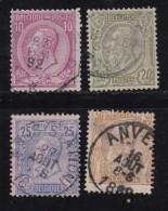BELGIUM, 1884, Used Stamp(s), Leopold II, MI 42=47, #10266, 4 Values Only - 1884-1891 Leopold II