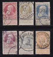 BELGIUM, 1905, Used Stamp(s), Leopold II, With Strip, MI 71=77,  #10272, 6 Values Only - 1905 Thick Beard