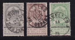 BELGIUM, 1907, Used Stamp(s), Coat Of Arms, With Strip, MI 78-80,  #10274, Complete - Belgium