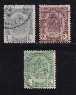 BELGIUM, 1907, Used Stamp(s), Coat Of Arms, Without Strip, MI 78-80,  #10275, Complete - Belgium