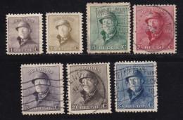 BELGIUM, 1919, Used Stamp(s), Trench Helmet, MI 145=158,  #10284,  7 Values Only - 1919-1920 Trench Helmet