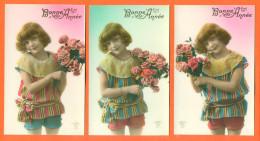 """Suite De 5 CPA Bonne Année """" Petite Fille Avec Bouquet De Fleurs """" 2 Scans - Children"""