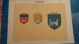 FEUILLE DEPARTEMENT DE LA CHARENTE 16 BLASON R LOUIS PREFECTURE SOUS PREFECTURES HERALDIQUE ARMOIRIES - Vieux Papiers
