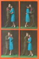 """Suite De 4 CPA Romantiques """" Couple Avec Femme Robe Bleue """" - Couples"""