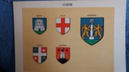 FEUILLE DEPARTEMENT REGION DE LA CORE 20 BLASON R LOUIS PREFECTURE SOUS PREFECTURES HERALDIQUE ARMOIRIES - Vieux Papiers