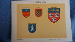 FEUILLE DEPARTEMENT DE L EURE ET LOIR 28 BLASON R LOUIS PREFECTURE SOUS PREFECTURES HERALDIQUE ARMOIRIES - Vieux Papiers
