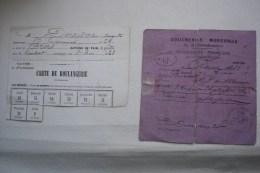 DEUX CARTES DE RATIONNEMENT SIEGE DE PARIS  1870-1871 / COMMUNE Boucherie Et Boulangerie