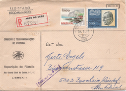 Portugal Registered Cover To Germany - Cartas