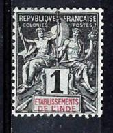 INDE 1*  1c Noir Sur Azuré - Unused Stamps