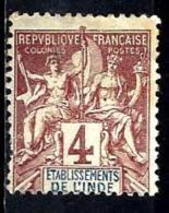 INDE 3*  4c Lilas-brun Sur Gris - India (1892-1954)
