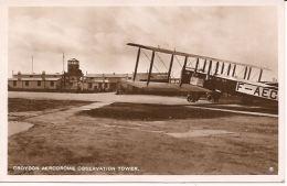 CROYDON AERODROME OBSERVATION TOWER WITH AIRPLANE PHOTOGRAFIC CARD Stamp 963 1928 - Aérodromes