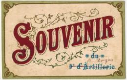 """MILITARIA GUERRE 14/18 Réhaussé Feutrine Lie De Vin : """" Souvenir De 5e D'Artillerie """" Ecrite En 1916 De BRUYERES - Régiments"""
