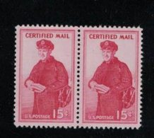 Sc#FA1 15-cent Certified Mail, Letter Carrier, Block Of 2 MNH 1955 Issue US Postage Stamps - Special Delivery, Registration & Certified