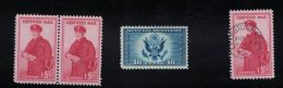 Lot Of 4, Sc#FA1 15-cent Certified Mail, Letter Carrier, Block Of 2 MNH, Used & #CE1 Special Delivery Air Mail Stamp - Special Delivery, Registration & Certified