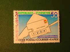 TIMBRE NEUF TUNISIE - CODE POSTAL = COURRIER PLUS RAPIDE - ELMEKKI - 50m. - NEW STAMP TUNISIA - Tunisie (1956-...)