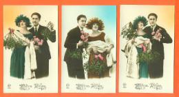 """Suite De 5 CPA Bonne Année """" Couple ,femme Avec Fourrure , Chapeau Et Gui """" 2 Scans - Couples"""