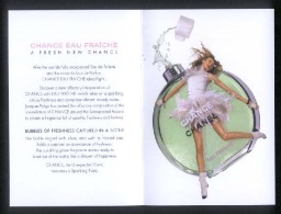 "1 X Singapore Perfume Postcard Cards Cartes Parfumees --  CHANEL CHANCE EAU FRAICHE (2 Folds -6"" X 4"" ) - Perfume Cards"