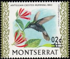 MONTSERRAT - Scott #314 Orthorhynchus Cristatus 'Surcharged' / Mint NH Stamp - Montserrat