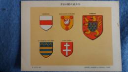 FEUILLE DEPARTEMENT DU PAS DE CALAIS 62  BLASON R LOUIS PREFECTURE SOUS PREFECTURES HERALDIQUE ARMOIRIES - Vieux Papiers