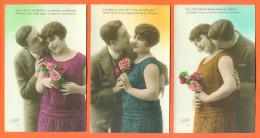 """Suite De 5 CPA Romantiques """" Couple , Femme Avec Fleurs """" 2 Scans - Couples"""