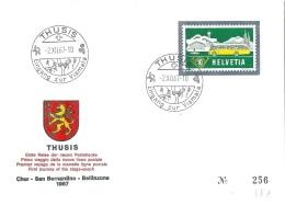"Sonderbrief  ""Erste Reise Poststrecke Chur - Bellinzona, Thusis""           1967 - Suisse"
