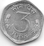 *india 3 Paisa 1968 B Km 14.2  Unc - Inde