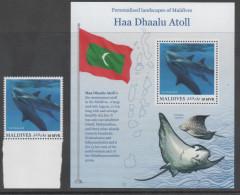 MALDIVES, 2016,HAA DHAALU ATOLL , DOLPHINS,  1v+ S/SHEET - Dolphins