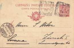 ITALIEN 1908 - 10 C Ganzsache Auf Pk Nach Zürich - Ganzsachen