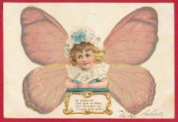 Kind Mit Schmetterlingsflügeln (mit Perlen !!!) ~ 1900 - Ansichtskarten