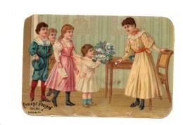 Chocolat Poulain.Chromo. A L'Ecole. Maitresse. Bouquet De Fleurs. - Poulain