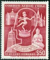 CILE, CHILE, 1959, POSTA AEREA, AIRMAIL, COMMEMORATIVO, DIRITTI UMANI, FRANCOBOLLO USATO, Scott C206 - Cile