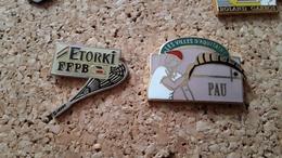 2 Pins Sur La Pelote Basque Federation Etorki Et Pau - Pin's & Anstecknadeln