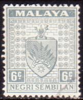 MALAYA NEGRI SEMBILAN 1941 SG #28 6c Grey Used CV £130 - Negri Sembilan