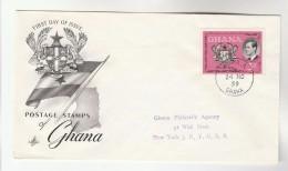 1959 GHANA FDC Prince Philip Heraldic Lion Bird Stamps Cover  Birds Royalty - Ghana (1957-...)
