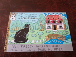 Carte Postale Illustrateur Patrick Hamm Alsace Schiltigheim 15 Anniversaire Théatre Alsacien 1987 - Hamm