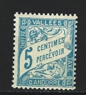 """Andorre Taxe YT 17 """" Duval 5 C. Bleu Clair """" 1938-41 Neuf ** - Timbres-taxe"""