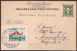 Nb_ Helgoland - Ganzsache Postkarte Mi.Nr. P 1 - Verwendet Mit DR Mi.Nr. 750 - Sonderstempel