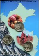 Lote PM2013-1, Peru, 2013, Moneda, Coin, Folder, Serie Numismatica Recursos Naturales Del Peru, Fish, Cocoa, Quinua - Perú