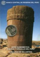 Lote PM2011-1, Peru, 2011, Moneda, Coin, Folder, 1 N Sol, Chullpas De Sillustani, Indigenous Theme - Perú