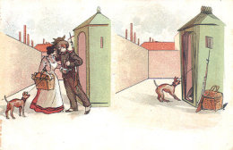 LOVERS And DOG ~ EARLY RISQUE HUMOR Postcard - Humour