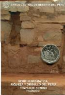 Lote PM2013-2, Peru, 2013, Moneda, Coin, Folder, 1 N Sol, Templo DeKotosh, Indigenous Theme - Perú