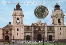 Lote PM2014-4, Peru, 2014, Moneda, Coin, Folder, 1 N Sol, Catedral De Lima, Cathedral - Perú