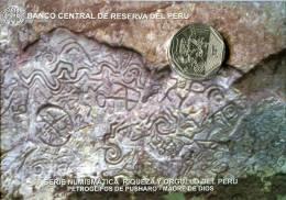 Lote PM2015-1, Peru, 2015, Moneda, Coin, Folder, 1 N Sol, Petroglifos De Pusharo, Indigenous Theme - Perú