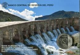 Lote PM2015-3, Peru, 2015, Moneda, Coin, Folder, 1 N Sol, Huarautambo, Indigenous Theme, River, Water - Perú