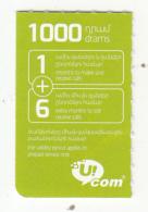 ARMENIA - U Com Mini Prepaid Card 1000 AMD(3/4), Used