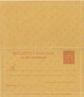 REGNO ITALIA BIGLIETTO POSTALE SERIE BIGOLA ANNO 1889 C. 20 - CATALOGO FILAGRANO B2 - NUOVO ** - 1878-00 Umberto I